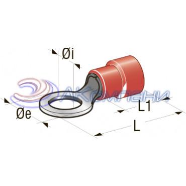 Клемма кольцевая изолированная d=4.3мм,  сечение провода от 0.25 до 1 мм2