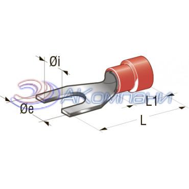 Клемма вилочная изолированная d=4,3 Cu-Sn PA66 сечение провода 0,25-1, шт
