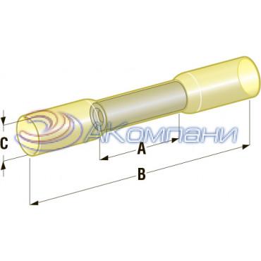Клемма соединитель в термоусадке d=6.4, сечение провода 2,5 мм- 6 мм2