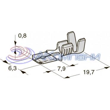 Нож не изолированный 6,3 мм,  сечение от 0,5 до 1 мм2