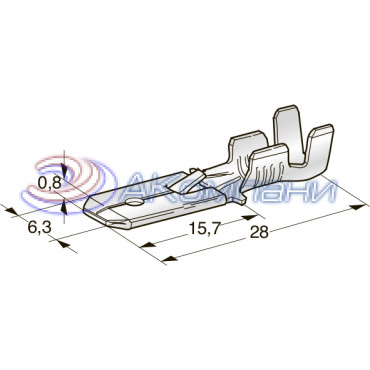 Нож не изолированный 6,3 мм, с замком, сечение от 4 до 5 мм2