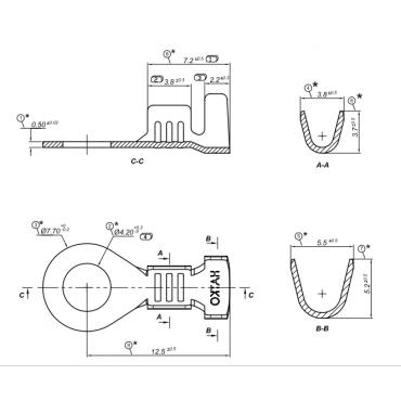 100207005 Кольцо не изолир. 4,2мм, сечение от 0,5-1мм2 ( 500шт)