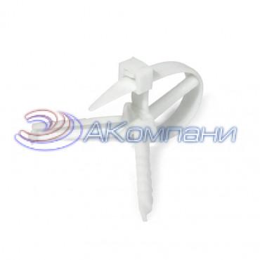 Кабельная стяжка нейлоновая с дюбелем белая КСД 7х110