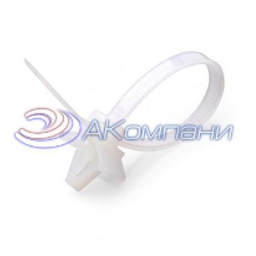 Кабельная стяжка нейлоновая с дюбель-пистоном белая КСДп 2.5х100