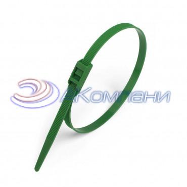 Кабельная стяжка нейлоновая разъемная с горизонтальным замком зеленая КСГ 8х400