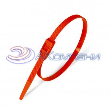 Кабельная стяжка нейлоновая разъемная с горизонтальным замком красная КСГ 8х400