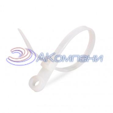 Кабельная стяжка нейлоновая с отверстием под винт белая КСО 4х110