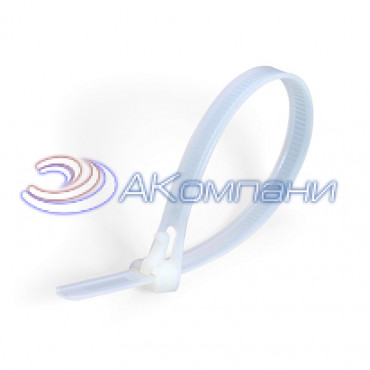 Кабельная стяжка нейлоновая разъемная белая КСР 7.5х200
