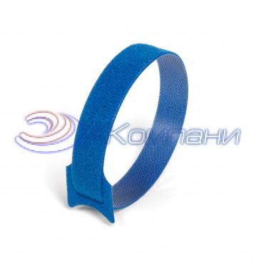 Кабельная стяжка нейлоновая - липучка Велькро синяя КСВ 12х135
