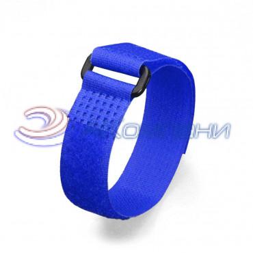 Кабельная стяжка нейлоновая - липучка Велькро с пластиковой пряжкой синяя КСВП 20х300
