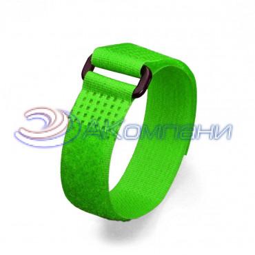 Кабельная стяжка нейлоновая - липучка Велькро с пластиковой пряжкой зеленая КСВП 20х300