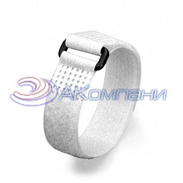 Кабельная стяжка нейлоновая - липучка Велькро с пластиковой пряжкой белая КСВП 20х300