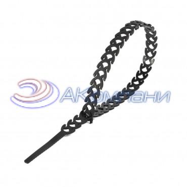 Кабельная стяжка нейлоновая разъемная фигурная T-flex 300 черная