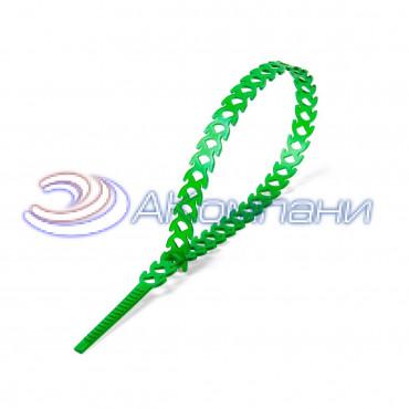 Кабельная стяжка нейлоновая разъемная фигурная T-flex 300 зеленая