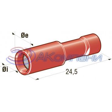Клемма соединитель цилиндрический  d=3,86, сечение провода 0,25 мм - 1 мм2