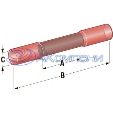 Клемма соединитель в термоусадке d=4.2, сечение провода 0,75 мм - 1,25 мм2