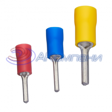 Наконечник штыревой круглый, сечение провода - 0.25-1.5 мм², материал изоляции - винил