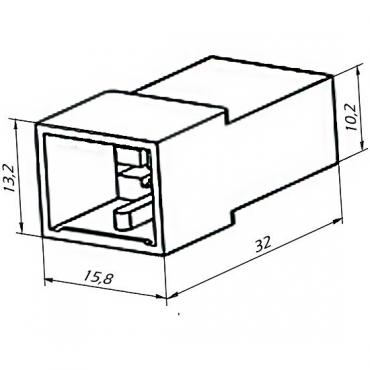 Колодка 2 конт. 6,3 мм штырь (502602, 45 7373 9004)