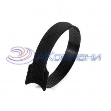 Кабельная стяжка нейлоновая - липучка Велькро черная КСВ 12х135