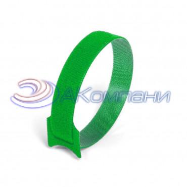 Кабельная стяжка нейлоновая - липучка Велькро зеленая КСВ 12х135