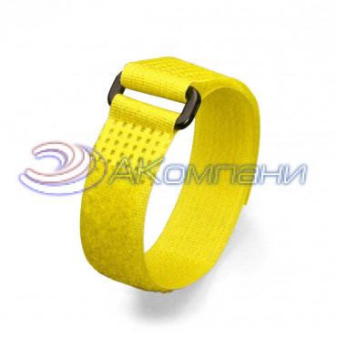 Кабельная стяжка нейлоновая - липучка Велькро с пластиковой пряжкой желтая КСВП 20х300
