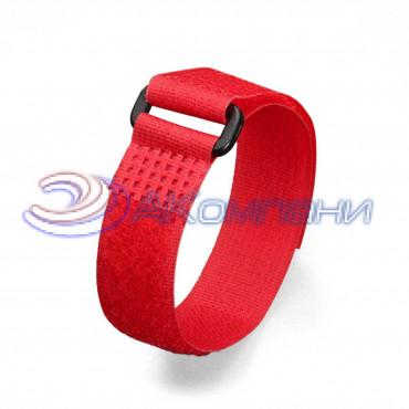 Кабельная стяжка нейлоновая - липучка Велькро с пластиковой пряжкой красная КСВП 20х300