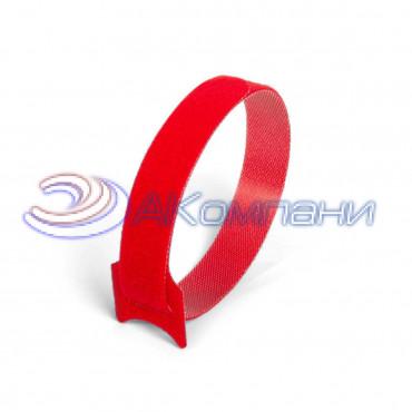 Кабельная стяжка нейлоновая - липучка Велькро красная КСВ 12х135