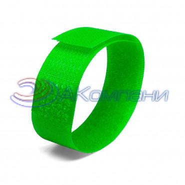 Кабельная стяжка нейлоновая - липучка Велькро универсальная зеленая КСВ 20х200