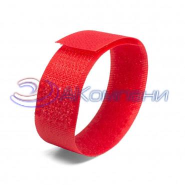 Кабельная стяжка нейлоновая - липучка Велькро универсальная красная КСВ 20х200