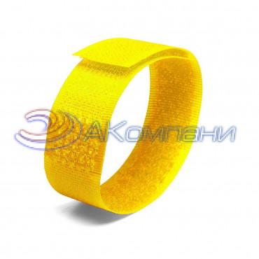 Кабельная стяжка нейлоновая - липучка Велькро универсальная желтая КСВ 20х200