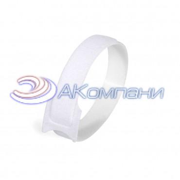 Кабельная стяжка нейлоновая - липучка Велькро белая КСВ 12х135