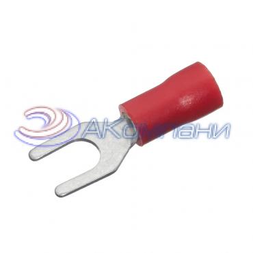 Клемма вилочная изолированная, сечение провода 0.25-1.5 мм², материал изоляции - винил (PVC)